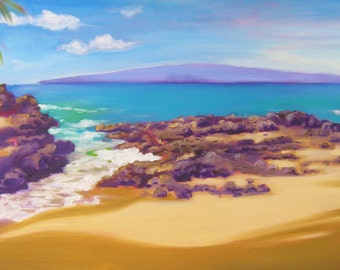 Tropical Seascape - HUGE original oil painting of Secret Beach Maui 18x36 - Beautiful island art painting - Secret Beach Maui Hawaii