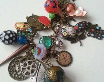 Bohemian, Hippie, gypsy, whimsical, steampunk, mix colour, feature necklace, short to medium, owl, watch, by NewellsJewels on etsy