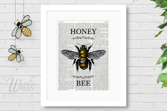 Https Www Etsy Com Listing 232831562 Honey Bee Art Dictionary Art Print Honey