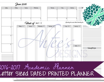 PRINTED Academic Planner for High School or College Students Week on 2 pages Letter Sized