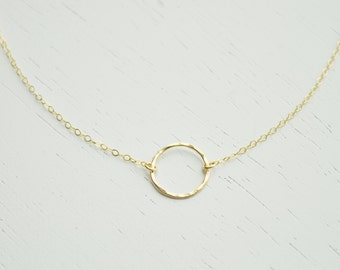 Gold Open Circle Necklace - small gold filled ring eternity charm smooth or hammered delicate chain simple dainty handmade jewelry - Halo
