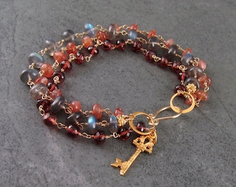 Multi gemstone bracelet, handmade gold filled, labradorite, garnet and sunstone 3 strand bracelet-OOAK