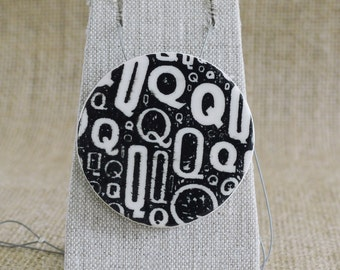 Black Newsprint Porcelain Pendant, Ceramic Jewellery, Mrs Peterson Pottery