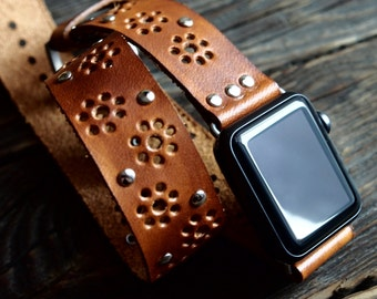 Thin Vintage Bohemian  Double Tour Band - Wrap Band  Apple Watch Band Strap -  Handmade leather band for Apple Watch 38mm