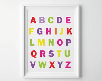 Alphabet Poster for Kids, Back to School Wall art, Alphabet poster, Back to school, Poster, Nursery Art, Multicolored, Trending Items,