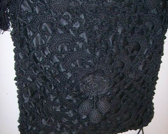 Vintage 1920's Black Mourning Purse Beautiful Crochet Mourning Purse