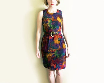 vintage dress mini 1980s tropical floral print sleeveless belted clothing size xxs xs extra small