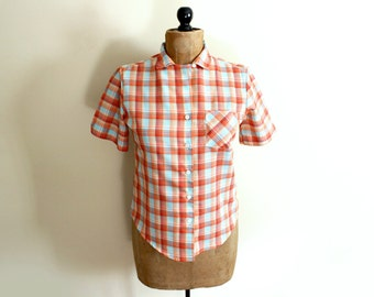 vintage blouse 80s plaid shirt womens clothing orange 1980s summer size medium m
