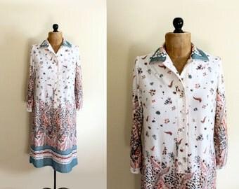 SALE vintage dress 1970s womens clothing floral feather print green orange size m medium