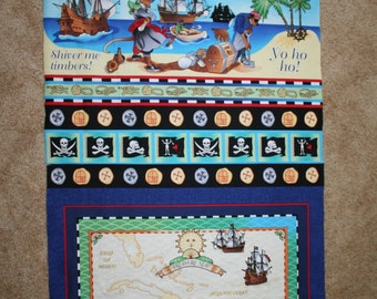 """PIRATE FABRIC Avlyn """"Pirate's Life - Yo Ho Ho"""" Panel of a Treasure Map and Large Pirate and Ship picture"""