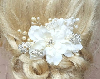 Bridal Hair Comb, Wedding Comb, Ivory Comb, Floral Wedding Comb, ivory Bridal Comb, Silver Wired, Ivory, Freshwater Pearls, KathyJohnson3