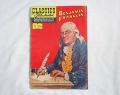 Vintage Classics Illustrated Benjamin Franklin Comic Book - no 65 - 15 cents - American History - Ben Franklin - 1949 - Biographical Comic