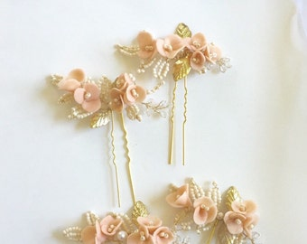 Blush - Bridal Hair Pins, Light Peach Ivory and  gold wedding  Bridesmaid Gifts