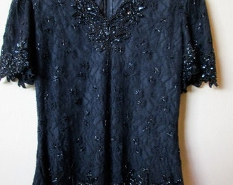 vintage black lace and beaded top - evening, Christmas, New Year's Eve, large