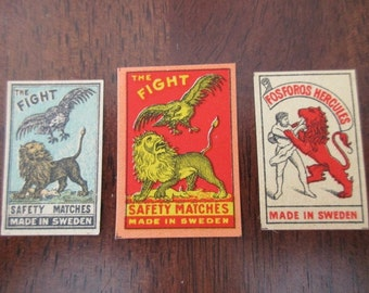 3 antique Swedish matchbox papers - unused, labels, 1900s, lions