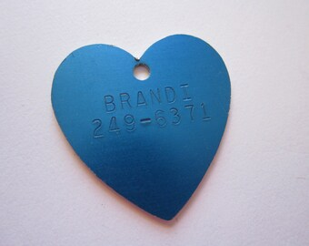 vintage metal dog tag - blue heart - BRANDI
