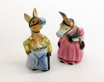 Dapper Donkeys Ceramic Salt and Pepper Shakers Anthropomorphic Costumed Horse Japan Cork 1950s