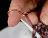Crochet ring, knitting ring, arthritis ring, copper ring, stranding ring, yarn ring, gift for Mom, knitting, crocheting, crochet accessories