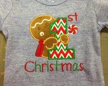 1st Christmas Gingerbread boy onesie