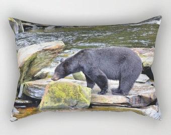 Black Bear Pillow, Rectangle Pillow, Lumbar Pillow, Home Decor