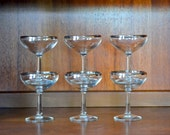 vintage mad men chic silver rimmed champagne coupe glasses