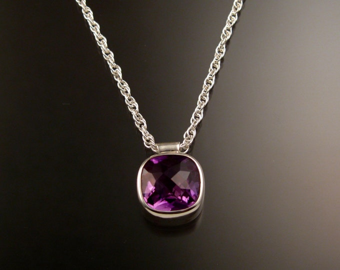 Amethyst Checkerboard cut bezel set stone necklace Sterling Silver Brazilian natural Amethyst adjustable length necklace