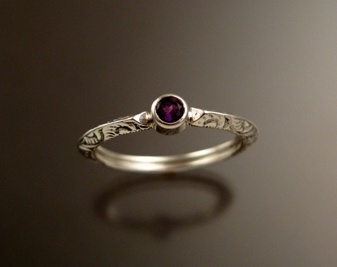 Amethyst Wedding ring Sterling Silver Victorian bezel set  stone ring made to order in your size