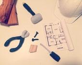 5- piece Amigurumi Boys Tool Set- builder, gender announcement, birthday gift- 100% cotton, Ready to Ship