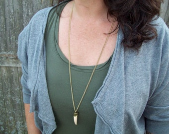 Sale - Antiqued gold chain necklace - boho bohemian - faux tooth, claw pendant, Tooth, Tusk Pendant Necklace