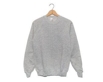 "Vintage ""Sturdy Sweats"" Heather Grey NOS Crewneck Gym Longsleeve Sweatshirt Made in USA - Small"