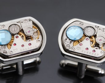 Steampunk Cufflinks Mens Cufflinks Cuff Links Silver Steampunk Cuff Links Mens Cuff Links