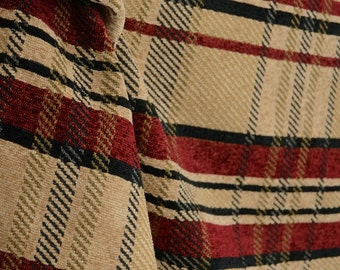 Black & Red Plaid Chenille Upholstery Fabric M8816