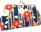 clutch purse - floral delight  - 8 inch metal frame clutch purse - large purse- flowers - navy-  stripe - clutch- kisslock