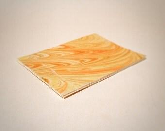 yellow and orange marbled Japanese stab bound notebook - hand marbled journal - stab bound journal - Japanese stab bound journal