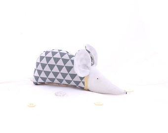 Modern deco, geometric, triangle, scandinavian design, grey, white, organic lavender, sachet, mouse, gift for her, gift for him, home decor