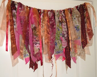 Gypsy Bohemian Garland, Banner, Lamp Cover, Window Valence, Dance Skirt, 20-36 Inches Wide,