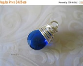 20% OFF ON SALE Royal Blue Quartz Silver Plated, Gold Plated Wire Wrapped Briolette Dangle, 1 pc, Gemstone Beads
