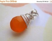 20% OFF ON SALE Orange Chalcedony  Sterling Silver Wire Wrapped Briolette Dangle, 1 pc, Gemstone Pendant