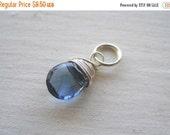 20% OFF ON SALE London Blue Topaz Sterling Silver Wire Wrapped Briolette Dangle, 1 pc, Gemstone Pendant