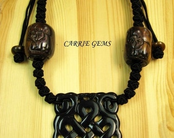 20% OFF ON SALE Cow Bone with Carved Black Jade Large RuYi Results Pendant Necklace