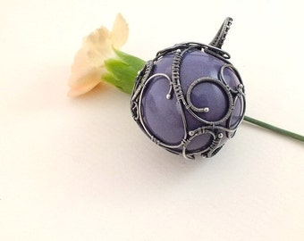 SALE Wire wrap necklace, ceramic ball necklace, purple necklace, sterling silver jewelry