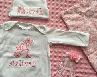 Personalized pink Damask baby girl homecoming gift set