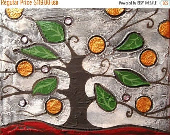 """textured painting canvas wall art sculpture """"Jewel Tree"""" canvas original pop acrylic abstraction impasto tree of life paintings on modern"""