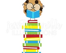SALE Smart Cookie on Book Stack Cute Digital Clipart, Reading Clip art, Student Reader Graphics, Cookie reading stack of books Illustration,