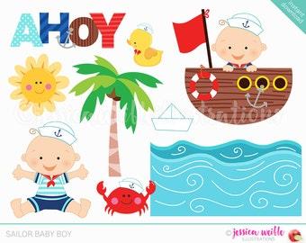 Sailor Baby Boy Cute Digital Clipart, Sailor Clip art, Nautical Graphics, Baby sailor, nautical baby, cartoon baby, ahoy, anchor, crab, navy