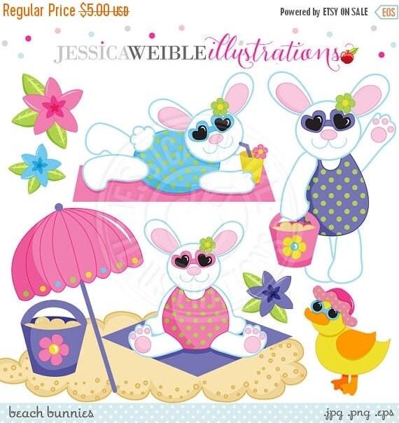 SALE Beach Bunnies Cute Digital Clipart for Invitations, Card Design, Scrapbooking, and Web Design, Beach Easter Clipart