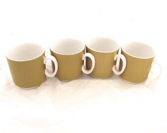 Set of 4 Topaz Iron Stone Coffee Cups, Mustard Yellow and White Mugs (DB4)