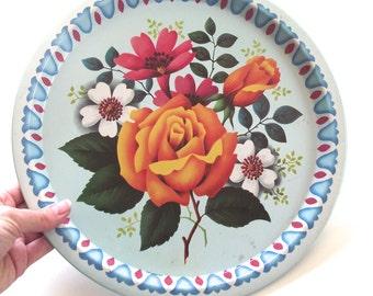 Elite Trays Flowers Illustrated Vintage Round Metal Tray (F1)