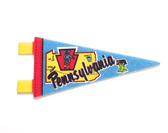 Pennsylvania Souvenir Pennant, Vintage Miniature PA Felt Flag in Blue, Yellow and Red