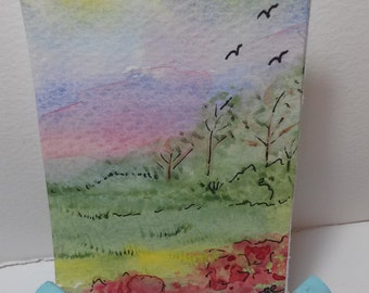 Spring Time ACEO Tiny Watercolor Painting Miniature Art